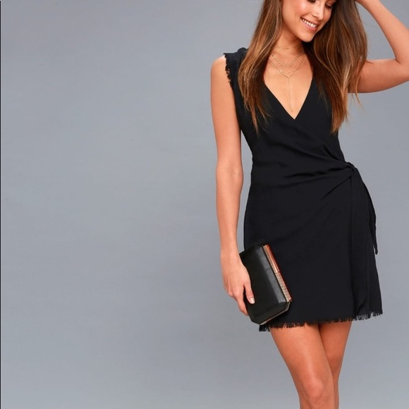 ff7cc511b38a5 Lulus meridian black sleeveless wrap dress